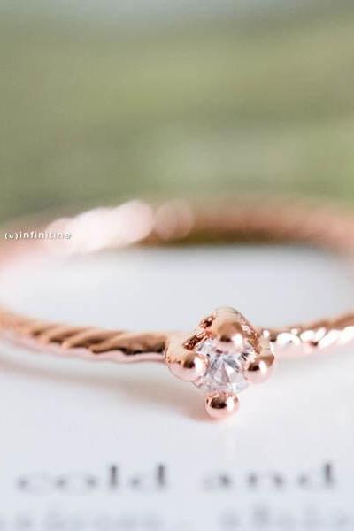 Rose gold solitary cz knuckle ring,stacked ring,stackable ring,stacking ring,knuckle ring,mid ring,pinky ring,cubic zirconia ring,,R113N