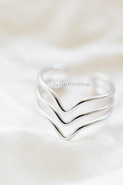 Silver tree line chevron ring,thumb rings,,Mid Finger Rings, Gold Knuckle Rings, Midi Rings, Chevron Rings, Set of 3, Adjustable ,,R199N