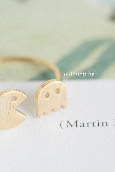 Gold pacman rings,unique rings,adjustable rings,knuckle ring,stretch rings,men ring,cool rings,couple rings,cute ring,fun rings,pac man ring,,R020N