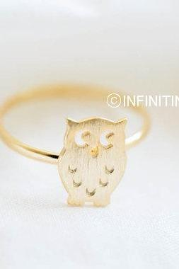Gold owl rings,animal rings,cute rings,rings for women,fashion rings,adjustable rings,stretch rings,girls rings,R127N
