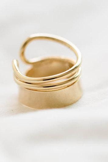 Gold Neoclassical mini open wire ring,,knuckle ring,adjustable rings,stretch rings,bridesmaid gift,bridesmaids ring,bridal ring,bridal gift,R104N