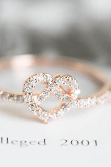 Rose gold cz heart rings,heart shaped rings,heart engagement rings,wedding ring/couple rings,pink rings,mother rings,cz wedding rings,bridal ring,,R171N
