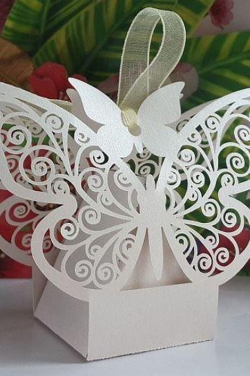 Beautiful White or Pink Pearlescent Paper Butterfly Wedding Favor Boxes with Ribbon