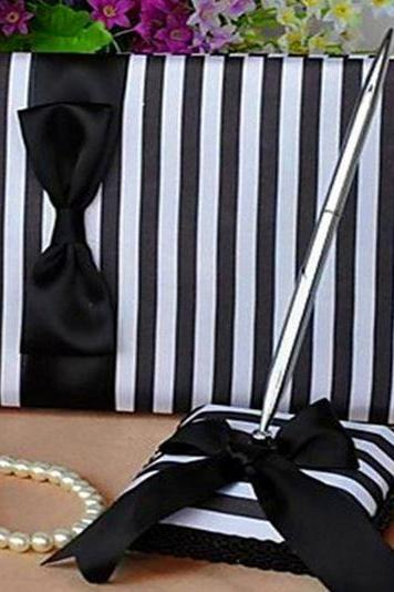 Classy Black & White Striped Satin Wedding Guestbook And Pen Set