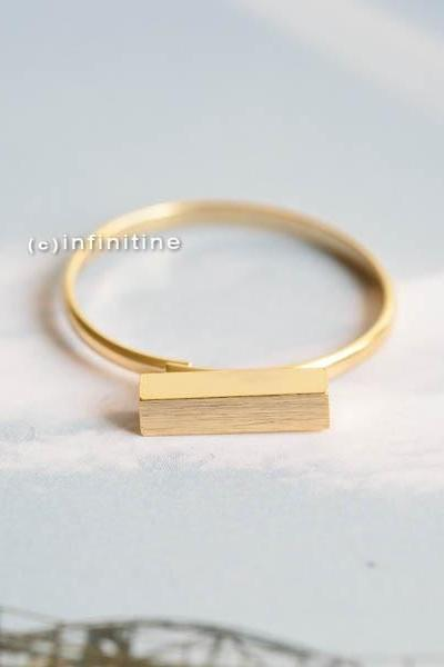Gold Stick bar ring,jewelry,ring,adjustable ring,stretch ring,half stick,simple ring,stick ring,unisex,teens ring,geometric,modern ring,R812N