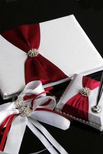 Elegant Satin Burgundy & White Wedding Guestbook & Pen Set with Decorative Bows