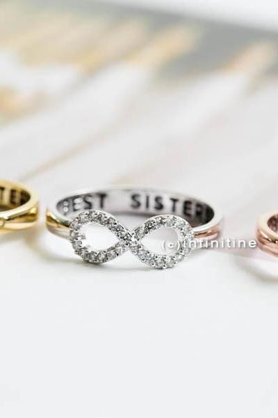 Silver Best sisters ring,Ring,bridesmaid gift,infinite,infinity ring,bridesmaid ring,friendship ring,best friend ring,all crystal ring,R405N