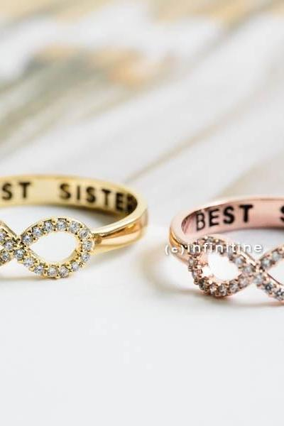 Rose gold Best sisters ring,Ring,bridesmaid gift,infinite,infinity ring,bridesmaid ring,friendship ring,best friend ring,all crystal ring,R405N