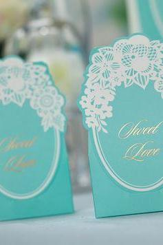 Gorgeous 'Sweet Love' Aqua Colored Floral Laser Cut Wedding Favor Box 50 Pieces