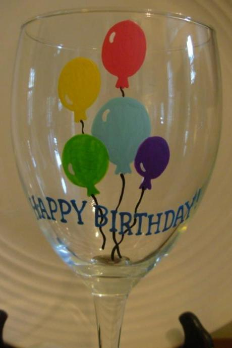 Birthday Wine Glass Handpainted Happy Birthday