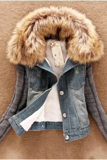 Autumn/Winter Wool Denim Women Outerwear/Jacket With Fur Collar (Available In Sizes S To 4XL)