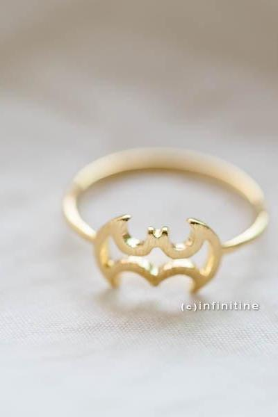 Gold open batman ring , Bat Ring, Batman Ring, Adjustable Ring, Everyday Ring, Tiny Ring, Gift Ring, Minimalist Jewelry,,R201N