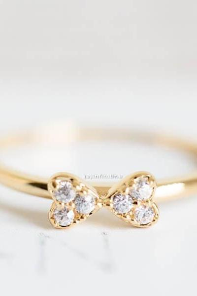 Gold cute cubic ribbon knuckle rings,stacked rings,stackable rings,stacking rings,knuckle rings,mid rings,pinky rings,cubic zirconia ring,,R185N