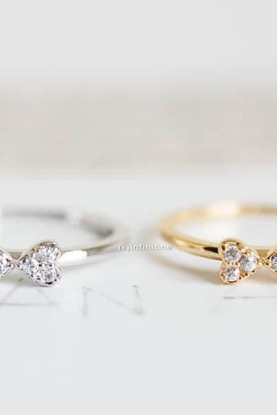 Gold or Silver Cubic Zirconia Encrusted Ribbon Stack Rings