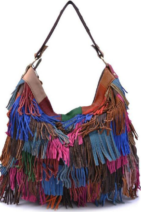Sheepskin stitching sided fringed bag DG61435