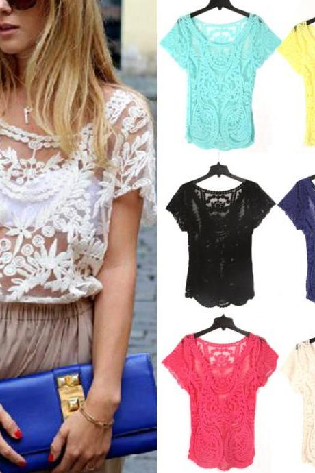 Hollow-Out Embroidered Lace Crochet Blouse