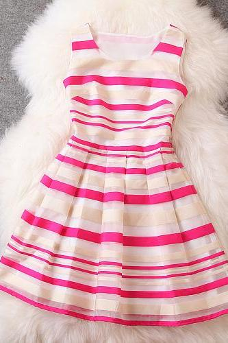 New luxury Stripe Dress - Red