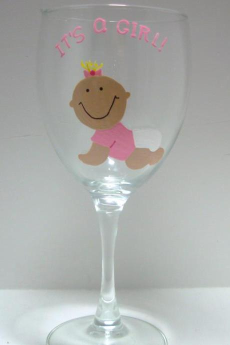 Baby Girl Wine Glass, Personalized Handpainted It's A Girl