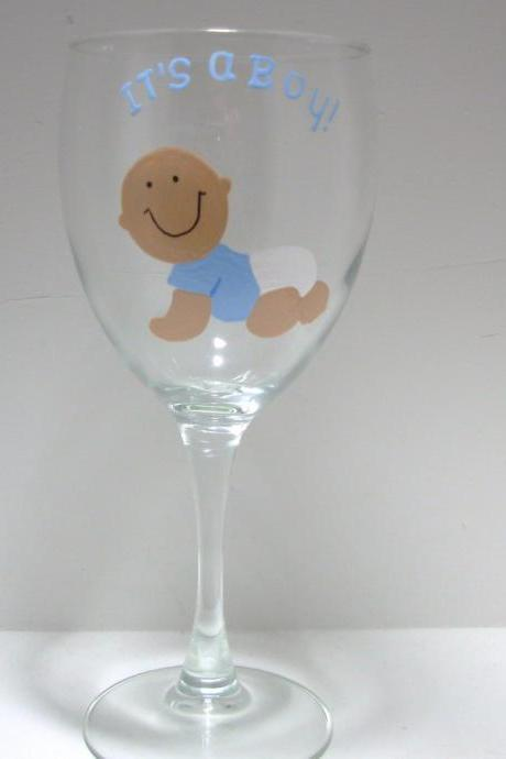 Handpainted It's A Boy Baby Wine Glass, Personalized