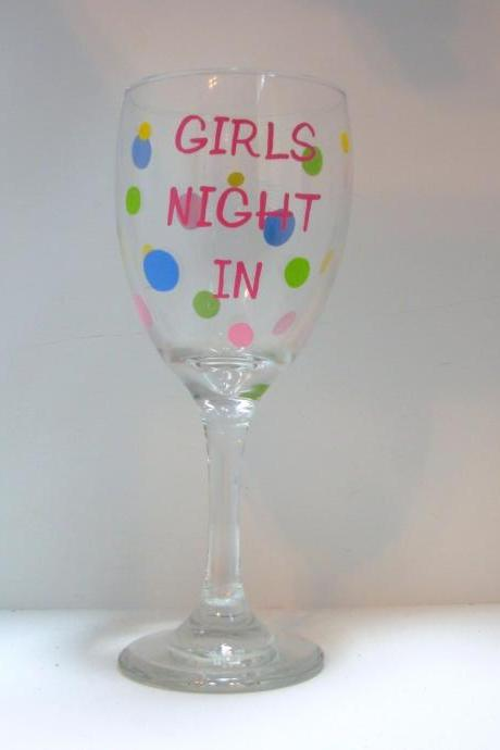 Handpainted Girls Night In Wine Glass Personalized
