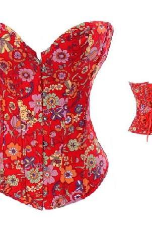 Bright Floral Red Print Bustier Corset; S M L XL 2XL