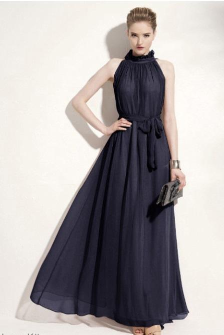 Elegant Chiffon Ruffled Sleeveless Dress in Dark Navy (Free size or Small only)