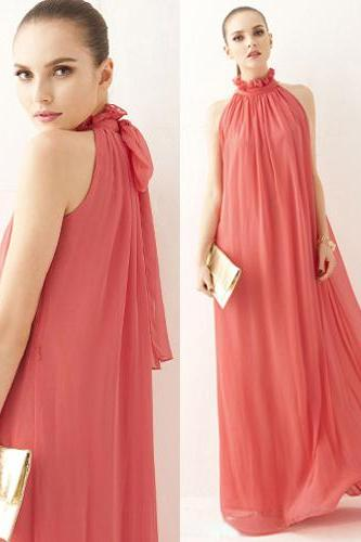 Pleated Sleeveless Chiffon Maxi Dress In Water Melon Red