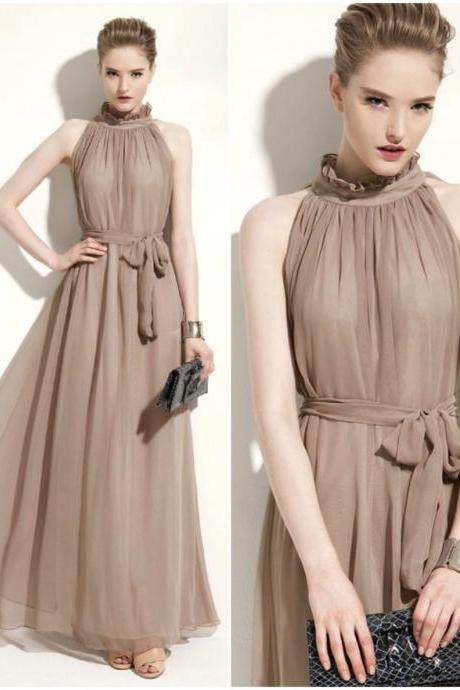 Chic Khaki Colored Chiffon Maxi Dress - 3 sizes available