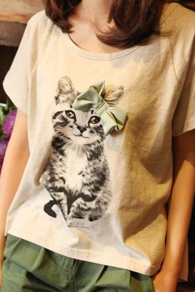 Bow cat lady t-shirt short-sleeved t-shirt light