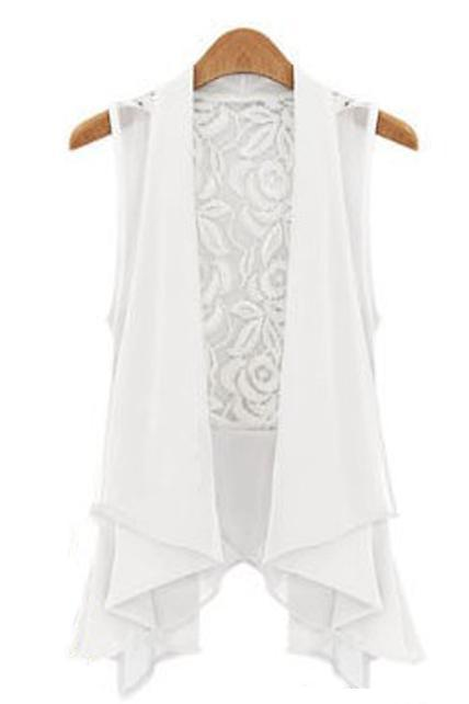 Exquisite Lace Back Asymmetrical Design Chiffon Waistcoat - White