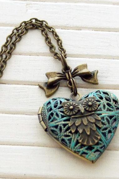 Verdigris Owl Locket