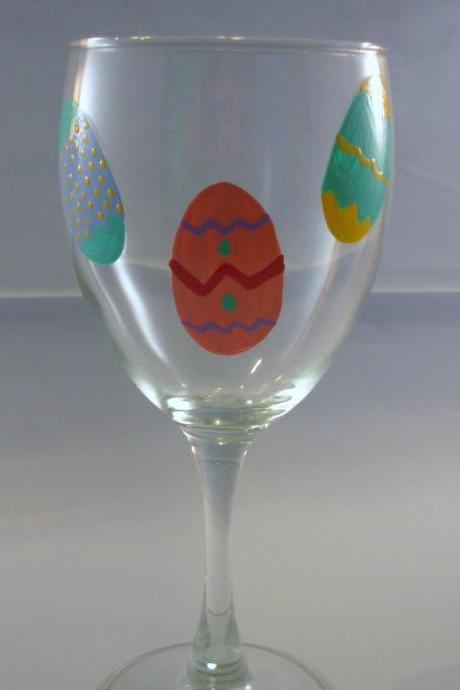 Handpainted Easter Wine Glass Personalized Easter Eggs