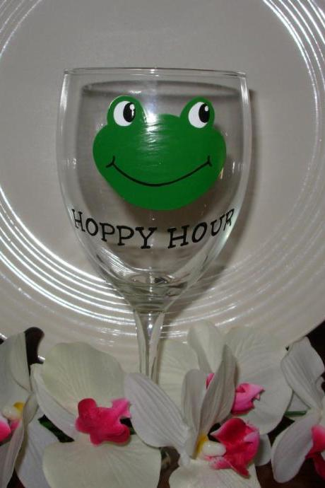 Frog Wine Glass Handpainted Hoppy Hour
