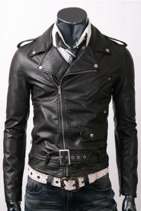 SLIMFIT BLACK BELTED LEATHER JACKET, MEN LEATHER JACKET