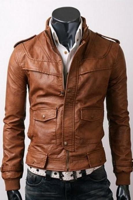 SLIM-FIT LIGHT BROWN LEATHER JACKET, MEN'S JACKETS