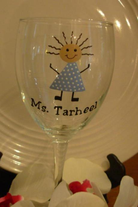 Ms. Tarheel wine glass Handpainted Personalized
