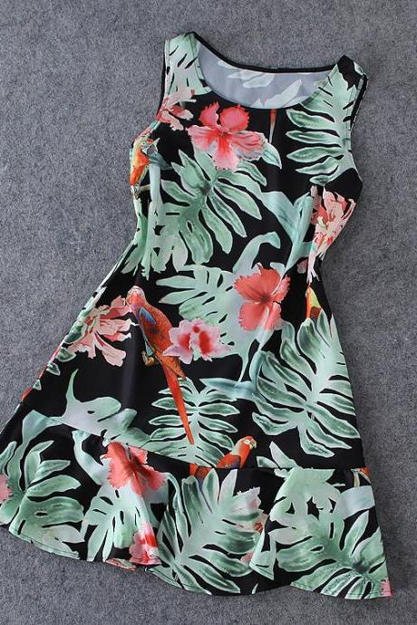 Printed Sleeveless Dress XXA621007