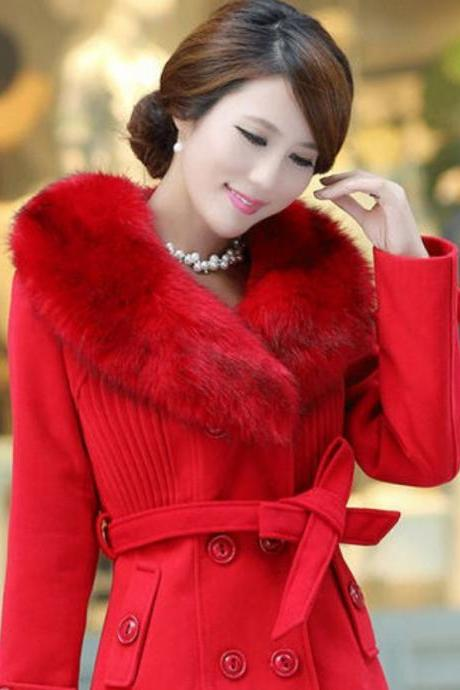 RED Coat Jacket with Fox Fur Winter Fox Fur Jacket- Large Luxurious Collar Gorgeous Fox Fur Winter Jacket