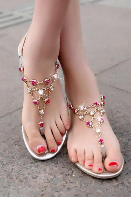 Rhinestone leather sandals XXA621024