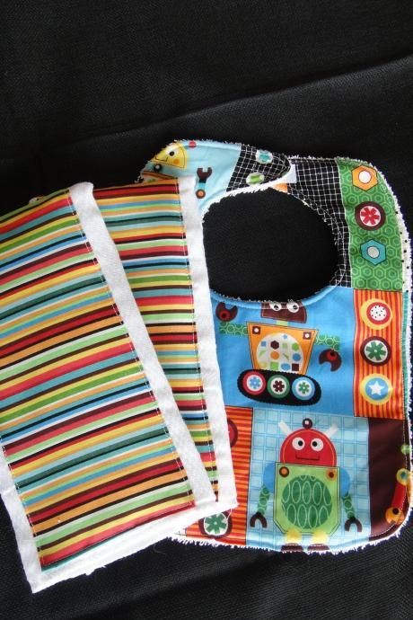 Bib and Two Burp Cloth Set robot and Stripes