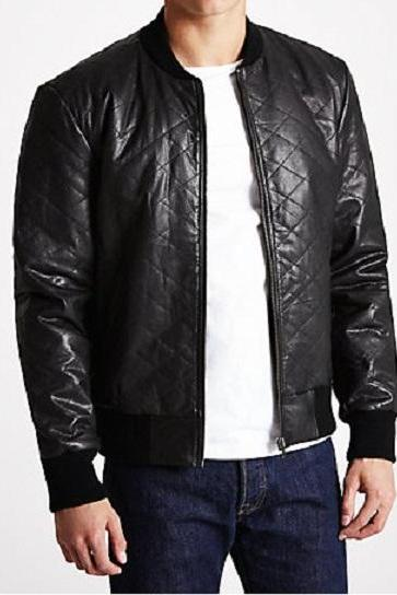 MEN,S QUILTED LEATHER JACKET, LEATHER JACKETS MENS
