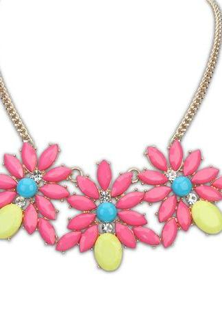 Bohemia style fresh flower necklace candy color