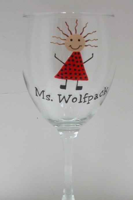Handpainted Ms. Wolfpack Wine Glass Personalized