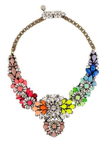 Rainbow Coloured Flower Gem Crystal Embedded Necklace