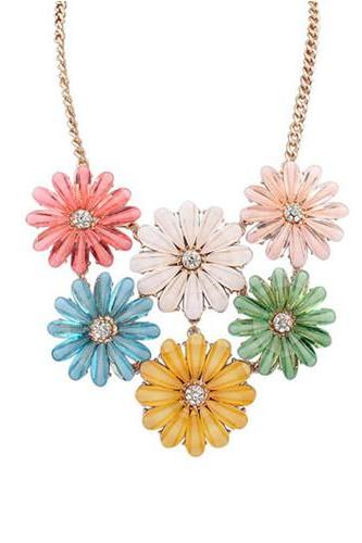 Multicolour Acrylic Daisy Flower Statement Necklace