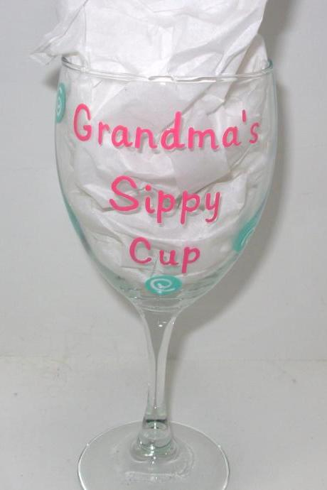 Grandma's Sippy Cup Handpainted Wine Glass Personalized