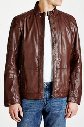 MEN'S LEATHER JACKET. MEN BROWN LEATHER JACKET