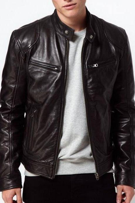 Christmas Collection Soft Lambskin Leather Mens Bomber Biker Jacket