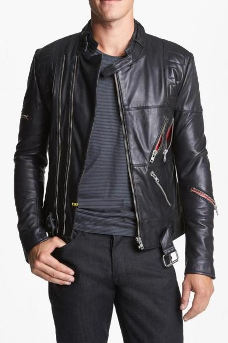 Men's biker leather jacket, black bomber jacket mens