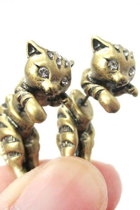 Unique Fake Gauge 3D Kitty Cat Animal Shaped Stud Earrings in Brass